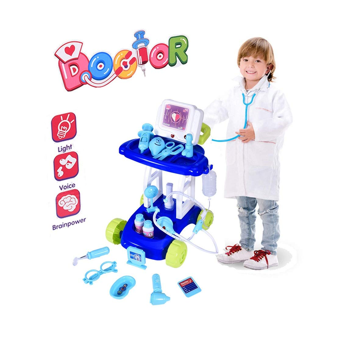 Kaniem Kids Doctor Toy Set,Doctor Pretend Play Kit with Electric Simulation ECG Medical and Stethoscope, Organizer Role Playing Game Preschool Educational Toys (C, Blue) by Kaniem