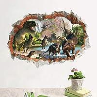 Wajade Vinilo adhesivo para pared, diseño de dinosaurios en el río, efecto espejo 3D, para salón, dormitorio, habitación…