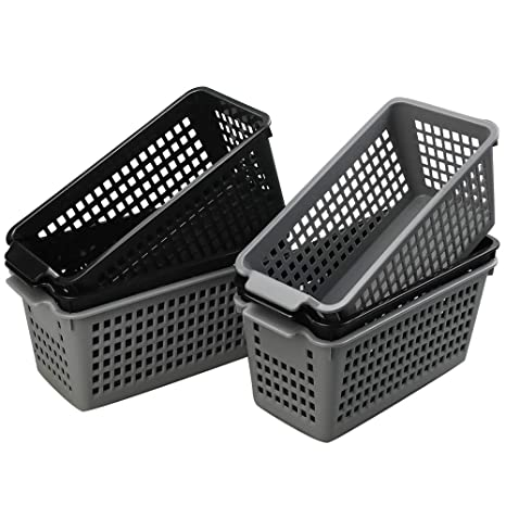 Grau Geflochten Kunststoff Box Aufbewahrungskörbe 4er Set