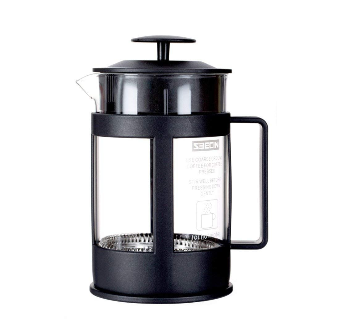 CESHUMD French Press Coffee Espresso Tea Maker, Classic Cafetière Teapot with Stainless Steel Plunger Heat Resistant Borosilicate Glass
