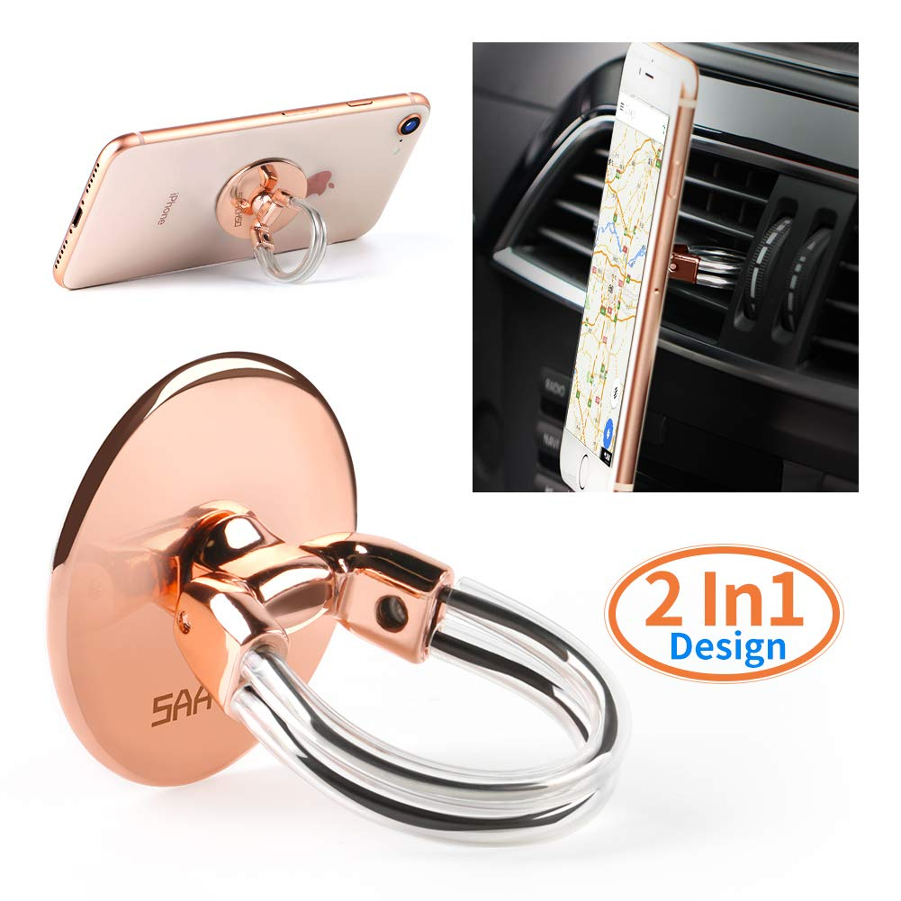 Phone Ring Holder Stand, 2 in 1 Universal Air Vent Car Phone Mount and Phone Finger Grip Ring with Strong Sticky Gel Pad Compatible with iPhone X/8/7/6s/Plus, Galaxy S9/S8/S7 (Rose Gold)