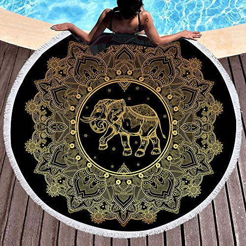 Qchengsan Gold Elephant Floral Beach Towel, Round Beach Towel Blanket with Tassels, Boho Round Tapestry, Circle Beach Mats (10) (Beach Elephant)