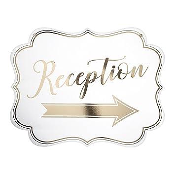 Lillianrose - Cartel de recepción con flecha de oro y blanco ...