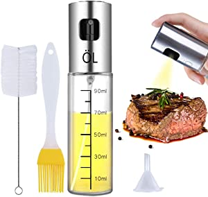 Ninonly Olive Oil Sprayer Bottle Oil Dispenser with Scale Transparent Food-Grade Portable Spray Bottle Vinegar Bottle Air Fryer Stainless Steel for Salad BBQ Frying Grilling Kitchen Baking Roasting