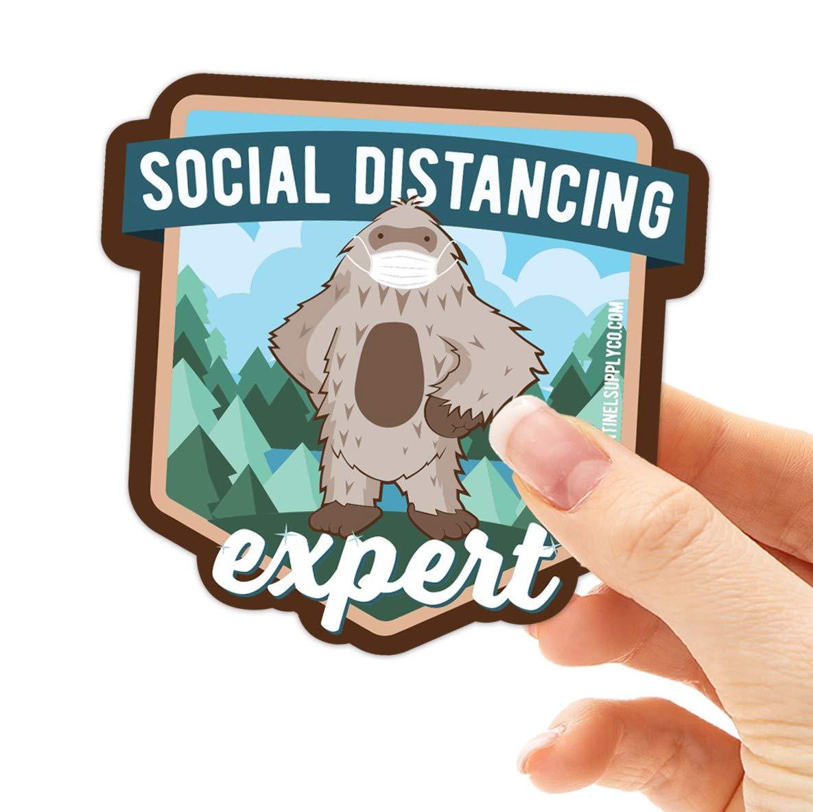 Social Distancing Bigfoot | Sasquatch Sticker for Hydroflask Sticker | Funny Sasquatch Expert Decal