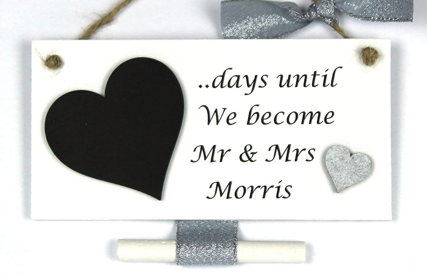 Handmade Personalised Wedding Countdown Plaque with Chalkboard Heart - Engagement Gift '..days until we become Mr & Mrs.....' silver ribbon & heart