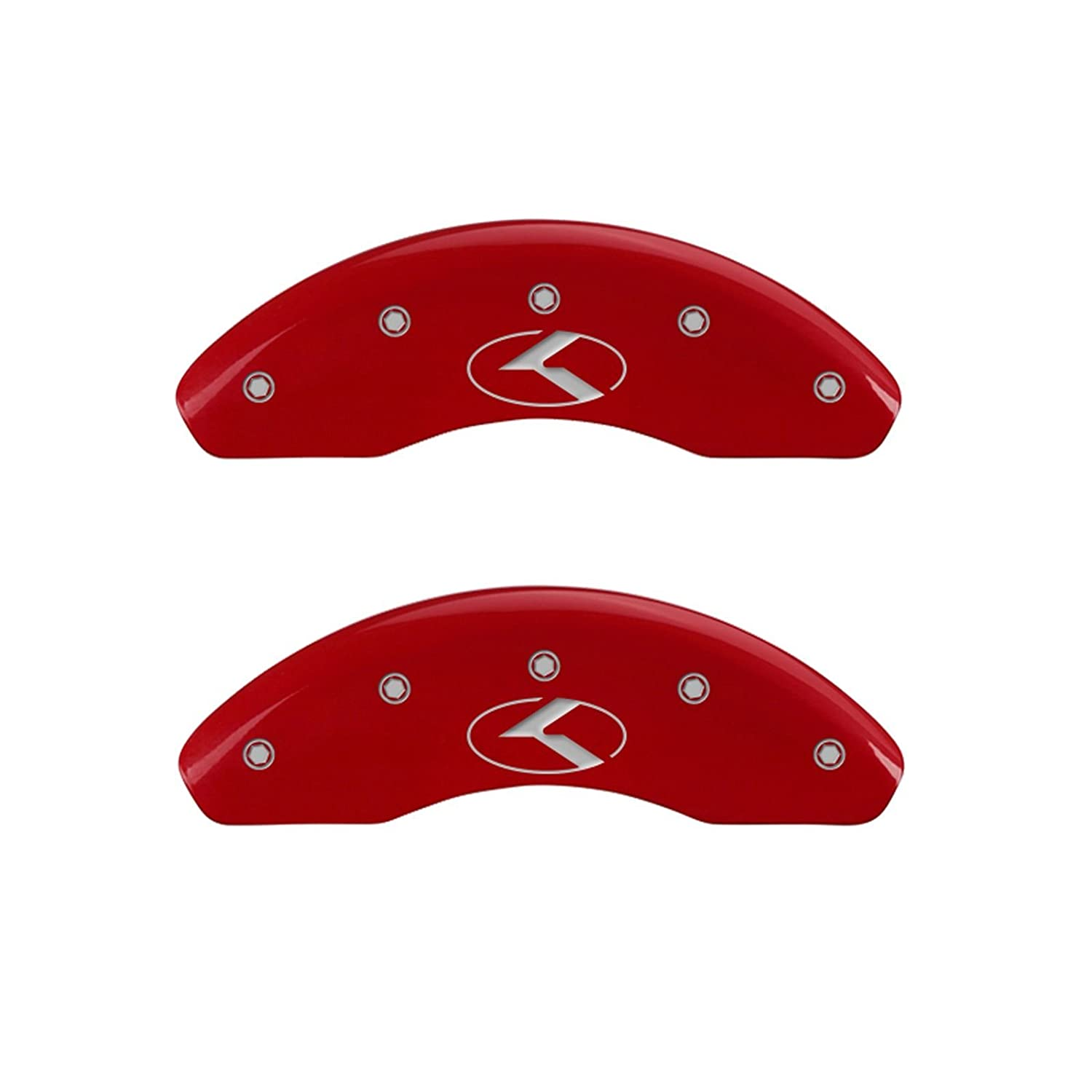 MGP Caliper Covers (21174SCRKRD) 'Circle K/Kia' Engraved Front and Rear Caliper Cover with Red Powder Coat Finish and Silver Characters, (Set of 4)