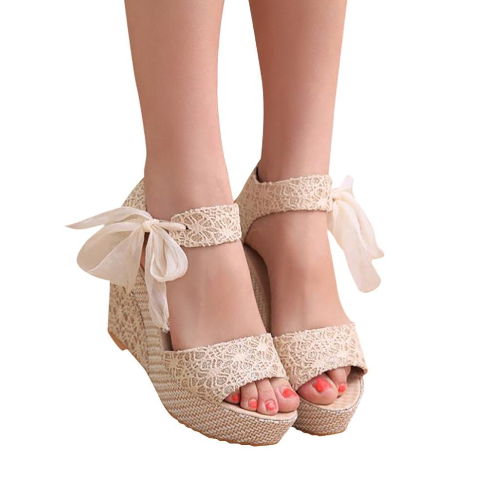 Han Shi Women Fashion Sandals Summer Casual Lace-up Slope High Heel Loafers Shoes (White, 6.5)