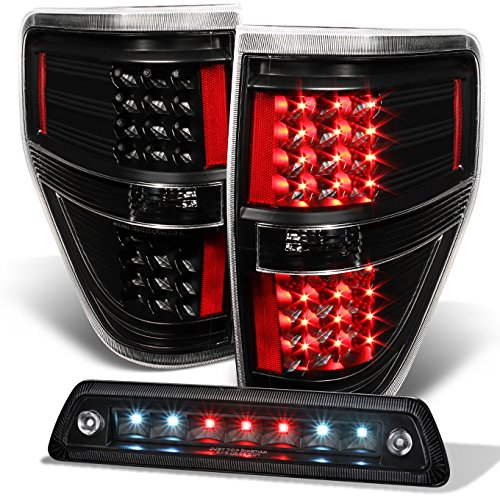 Ford F-150 Flareside Box - For 2009-2014 Ford F150 F-150 Black LED Tail Lights + LED 3rd Brake Light Lamp Combo