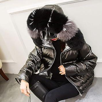 WHLDK Damenmantel aus Baumwolle Glänzend Damen Winterjacke