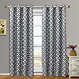 Cheap eLuxurySupply Meridian Jacquard Grommet Top Curtain Panel Window Treatment – Set of Two (2) – Multiple Sizes & Colors Available