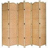 MyGift Freestanding Bamboo Woven Textured 4-Panel