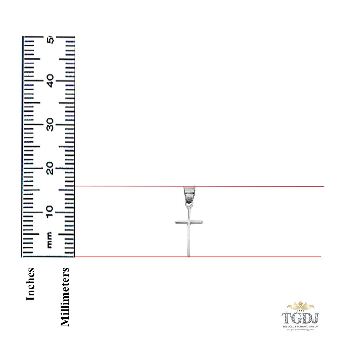 14k White Gold Slender Cross Religious Pendant Height 16 MM Width 10 MM