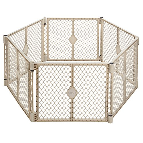 North States Superyard Indoor and Outdoor , 6 panel Playard- Sand (Circle Baby Gate)
