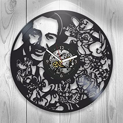 Record clock Love story Gift for baby Lover cartoon Clock design Sign heart Love you Wall decor sign Good gift for kids Creative wall clock