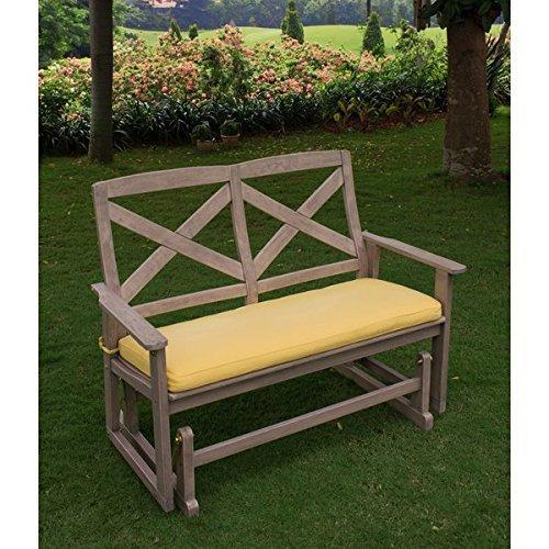 Guías para Patio, al aire libre Glider banco, madera con amarillo ...