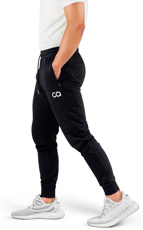 Contour Pantalones Deportivos de chándal para Hombres (de Crucero) Athletics Pantalones Deportivos Deportivos para Correr para Hombre con Bolsillos con Cremallera (Negro) (X-Large) (CA1003-XLB): Amazon.es: Ropa y accesorios