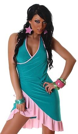Sommerkleid & Tanzkleid in Wickeloptik zweifarbig Einheitsgröße (34-38),  grün rosa