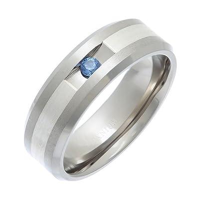 Theia Titanium Court Blue Topaz or Pink Sapphire Tension Set Stone Matt 4.5 mm Ring 4BsOER