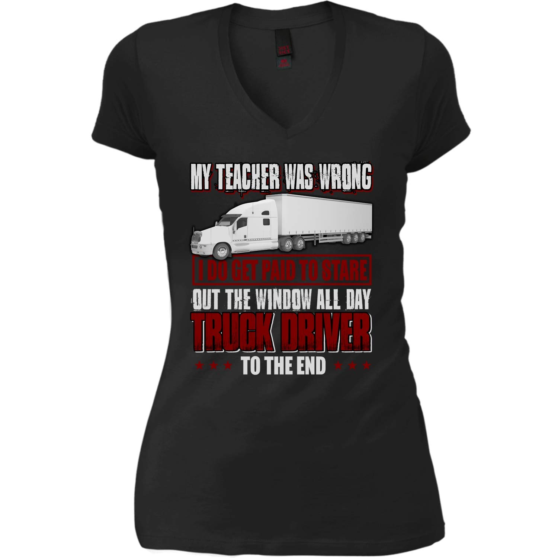 Amazon Omgshirts My Teacher Was Wrong Womens V Neck Tee I Do