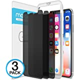 iPhone X Screen Protector, Maxboost (Privacy Black, 3 Packs) iPhone X Tempered Glass Screen Protector Privacy Screen Protectors Glass Anti-Spy/Scratch/Fingerprint (Work with most case) Easy Install