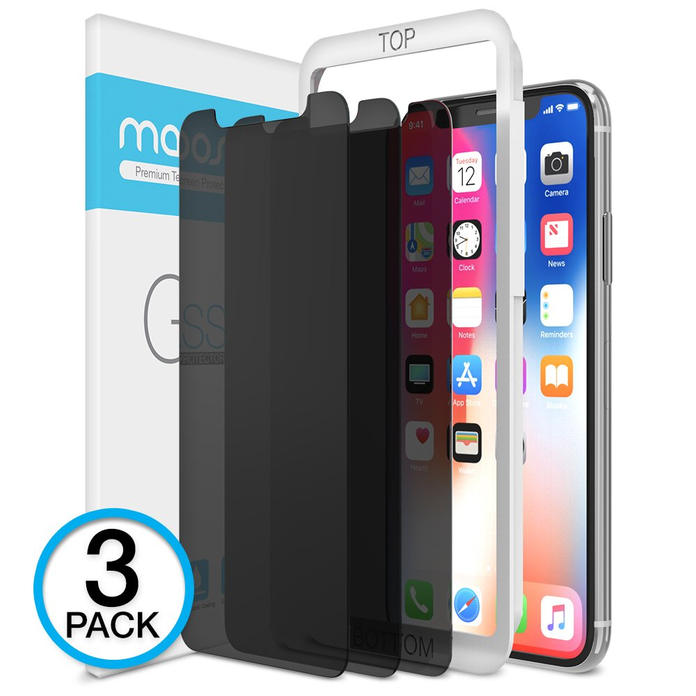 Maxboost iPhone X Screen Protector, (Privacy Black, 3 Packs) iPhone X Tempered Glass Screen Protector Privacy Screen Protectors Glass Anti-Spy/Scratch/Fingerprint (Work with most case) Easy Install