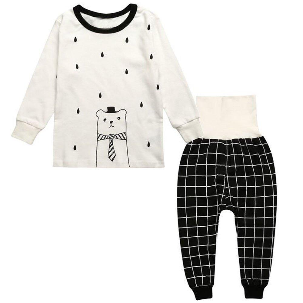 Suma-ma Long Sleeve Print T-Shirt Tops+Pants Set Toddler Kids Sleepwear Outfits Clothes (5T, White)