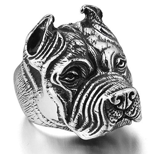 INBLUE Stainless Steel Silver Bulldog