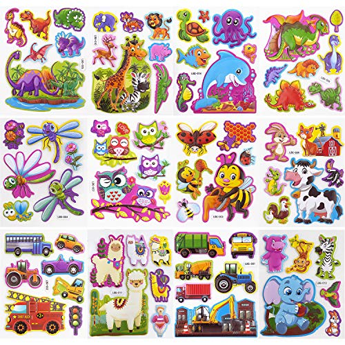 SAVITA 3D Puffy Stickers for Kids & Toddlers Wall Stickers Cute Animal Stickers Including Cars, Various Cartoon Animals, Insects and More(12 Sheets)