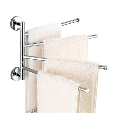 Amazoncom Stainless Steel Swivel Towel Rack Wall Mounted Towel