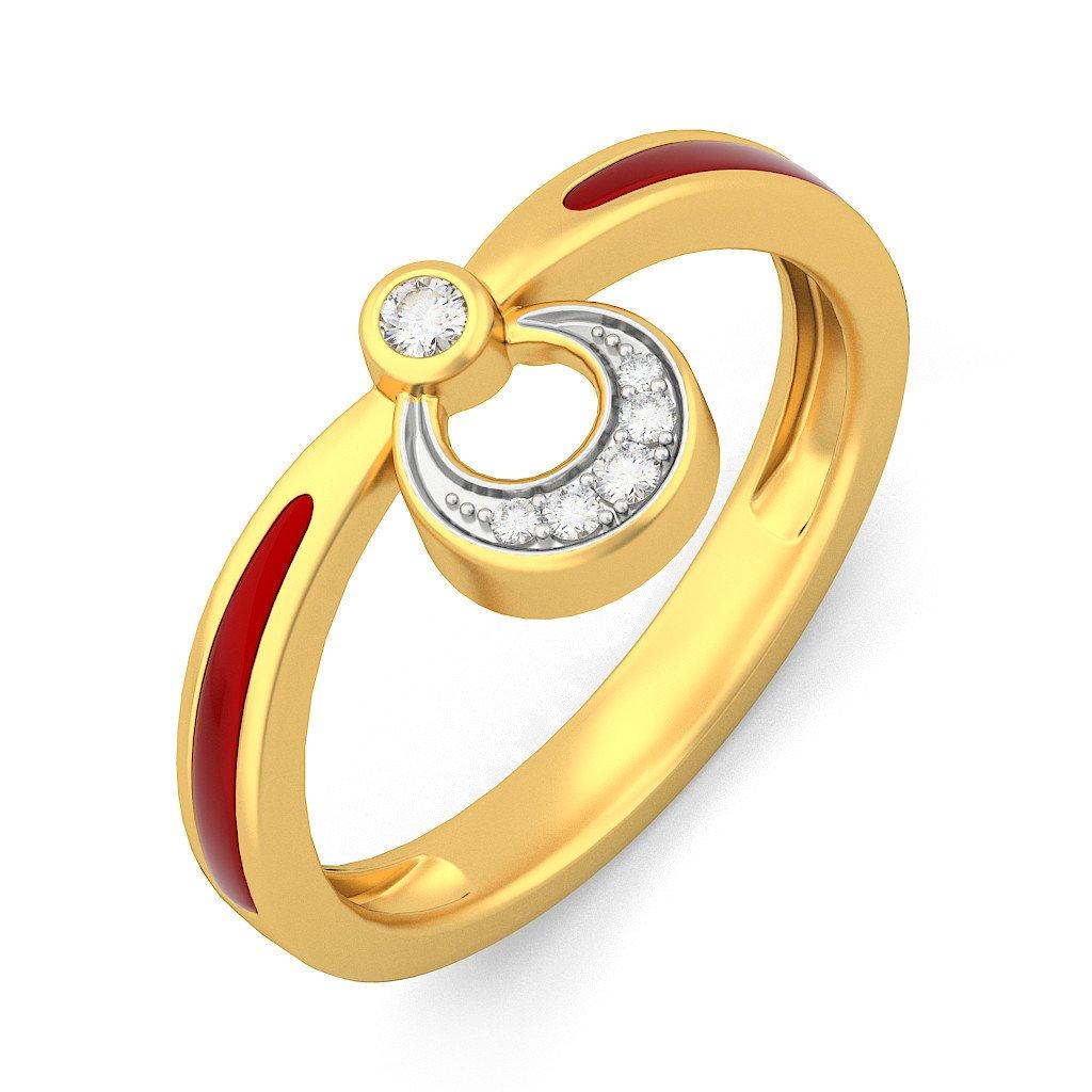 Certified 18K Yellow Gold (HallMarked), 0.11 cttw White Diamond (IJ | SI ) Diamond Engagement Wedding Ring Size - 7.5