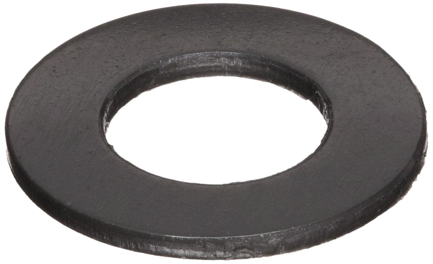 """Nylon 6/6 Flat Washer, Plain Finish, Black, 1/2"""" Hole Size, 0.5"""" ID, 0.75"""" OD, 0.06"""" Nominal Thickness (Pack of 100)"""