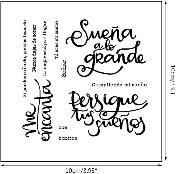 AIUI - Sello de silicona con palabra española para manualidades: Amazon.es: Hogar