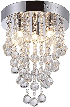 Modern Raindrop Crystal Chandelier Round Transparent Crystal Ceiling Light Crystal Ball Pendant Embedded Lighting Amazon Co Uk Kitchen Home
