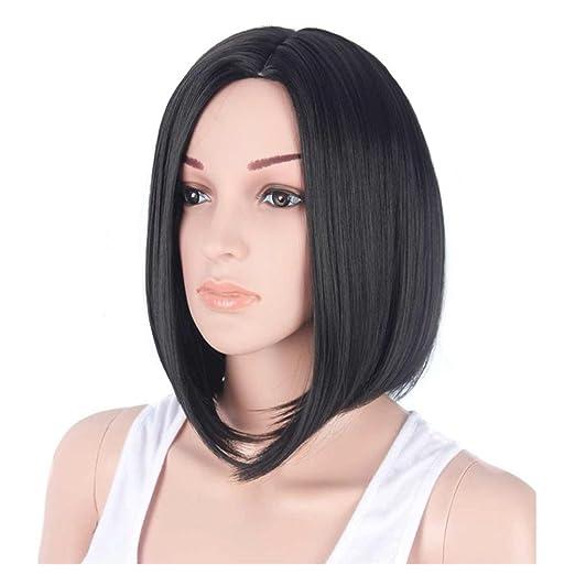 Inkach Short Bob Wigs for Black Womens Mid-Long Straight Hair Wigs  Synthetic Full Wig 38f3b956b