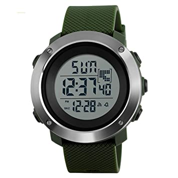 WULIFANG Mens Sports Watch Reloj Digital Doble 50M Impermeable Reloj Pantalla Led Verde L