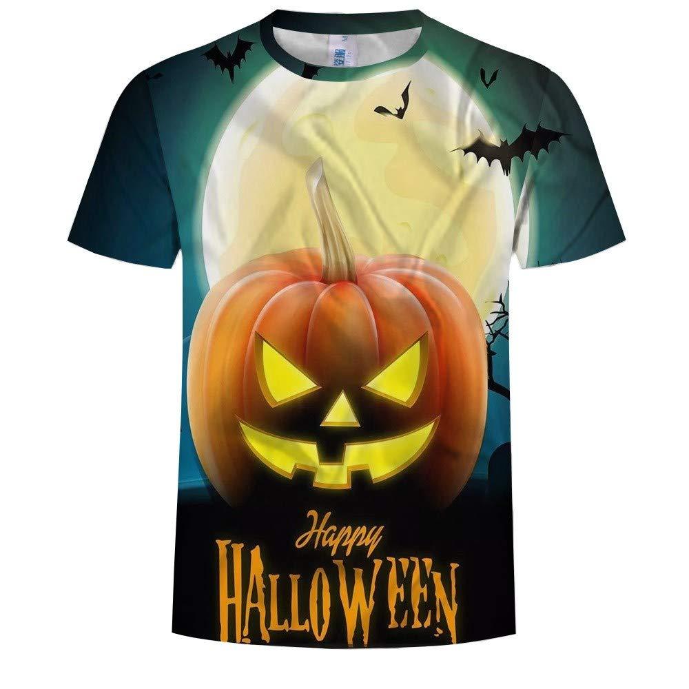 FENG die männer Um Den Hals Kurzarm t - Shirts Halloween - kürbis 3D - Drucken Kurze ärmel XL
