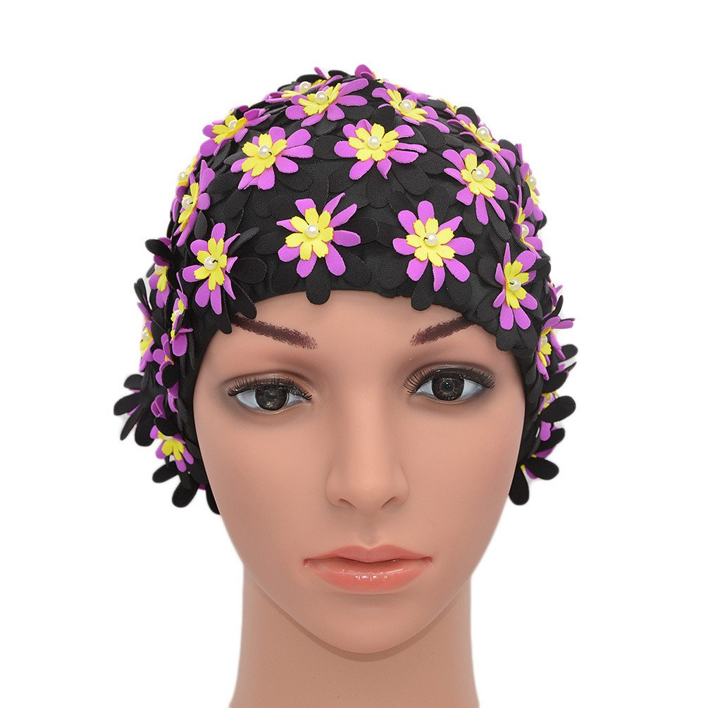 1950s Hats: Pillbox, Fascinator, Wedding, Sun Hats Medifier Swim cap Floral Petal Retro Style Bathing Caps for Women $13.99 AT vintagedancer.com