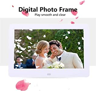 HUALEIYUAN AU 10 Inches Digital Picture Frame Photo Album High Resolution MP3 MP4 Movie Player Alarm Clock with Remote Control Digital Frame (Color : White)