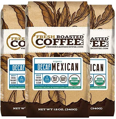 Fresh Roasted Coffee LLC, Organic Decaf Mexican Chiapas Coffee, Swiss Water Decaf, USDA Organic, Medium Roast, Whole Bean, 12 Ounce Bag, 3 Pack