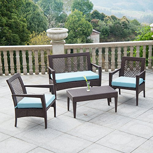 AURO 4 Piece Wicker Patio Conversation Set   Brisbane Outdoor Furniture   All-Weather Brown Rattan Deluxe Chat Set with 2 Blue Olefin Cushioned Chairs & Loveseat   Porch, Backyard, Pool, Garden