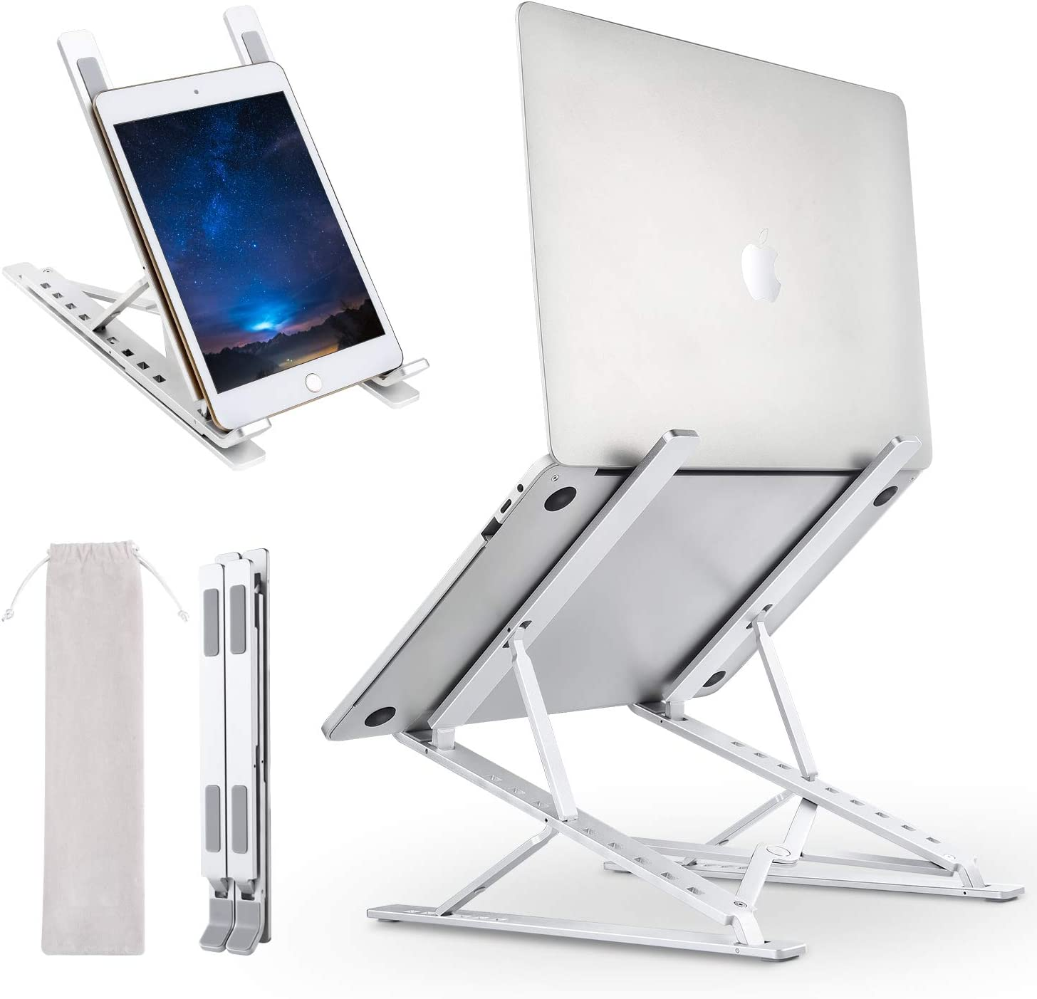 "Laptop Stand Portable Adjustable Height for Desk, Ergonomic Foldable Laptop Riser,Level 6-Height 9-Angles to Sit or Stand, Aluminum Anti-Slip Tray Cooling Holder for 10"" - 17.3"" Laptop Tablet iPad"