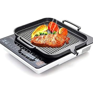 Style A Plancha para Asar Barbacoa de Hierro Fundido para Estufa - Non Stick Portable Plato Plano de Pancake Grill para Encimera de Inducción Eléctrica, ...