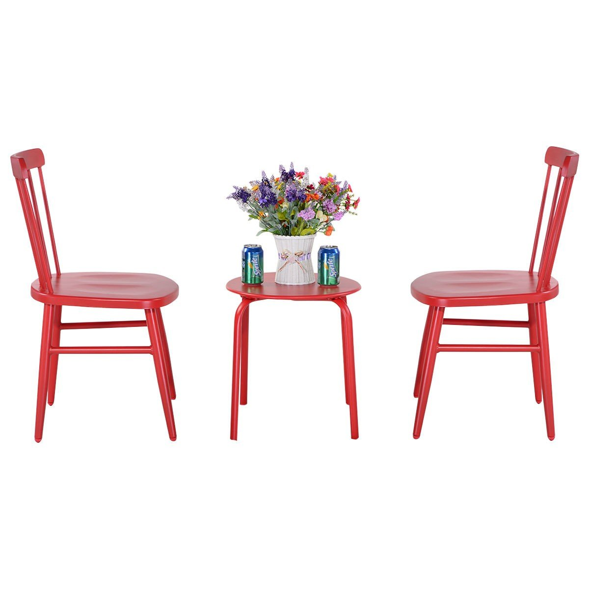 3 pcs Bistro Steel Table and Chair - Red + FREE E-Book