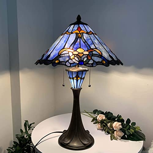 Bieye L10684 Baroque Tiffany Style Stained Glass Table Lamp