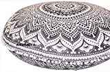 ANJANIYA 32'' Mandala Bohemian Ombre Yoga Meditation Floor Pillow Comfortable Home Car Bed Sofa Cushion Cover Couch Seating Large Zipped Throw Hippie Decorative Ottoman Boho Indian (Silver Ombre)