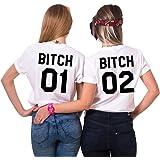 JWBBU Best Friends Bitch T-Shirt mit Aufdruck für Zwei Damen Mädchen Sommer Weiß Oberteil Geburtstagsgeschenk 2 Stücke