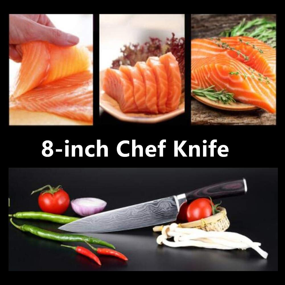 Chef Knife, Professional Kitchen Knife 8 Inch Carbon Stainless Steel Chef\'s Knife with Wood Handle & Box, Sharp Knives for Vegetable Fruit Meat Home Restaurant
