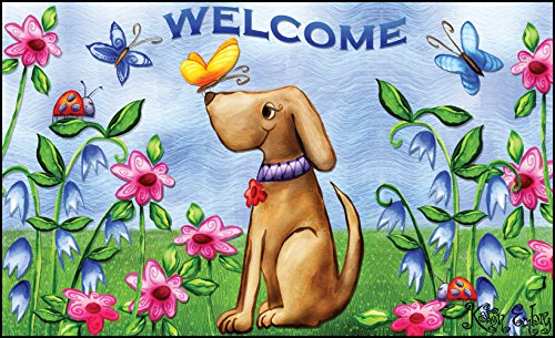 "Toland Home Garden 18 by 30"" Welcome Dog Indoor Outdoor Mat,"