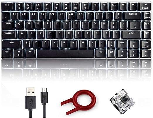 FELiCON AK33 Teclado para Juegos mecánicos con Cable, Blanco LED retroiluminado 82 Teclas E-Sport Gamer Teclado para mecanógrafos de Oficina Que ...